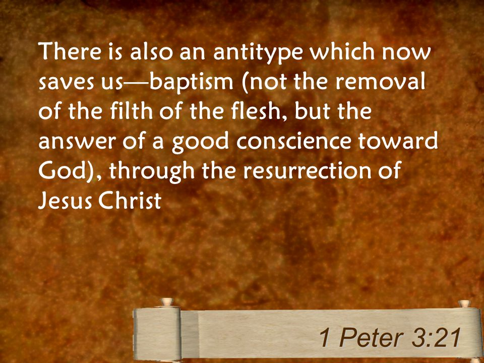There is also an antitype which now saves us—baptism (not the removal of the filth of the flesh, but the answer of a good conscience toward God), thro