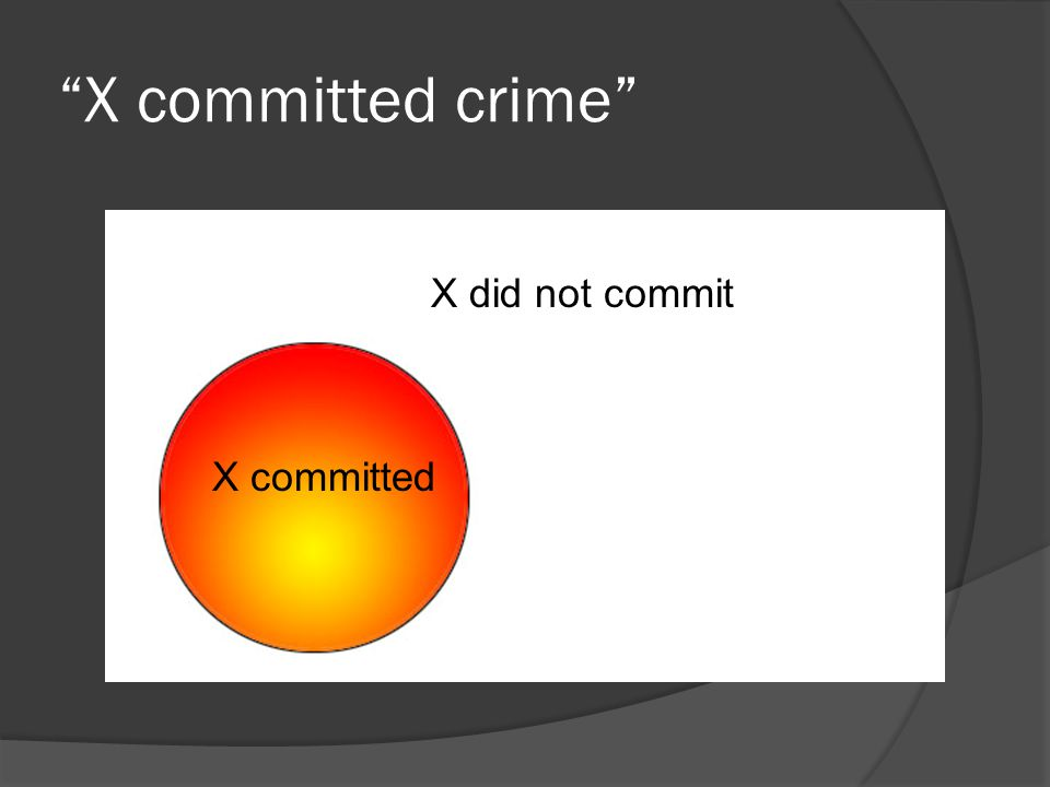 """X committed crime"" X committed X did not commit"