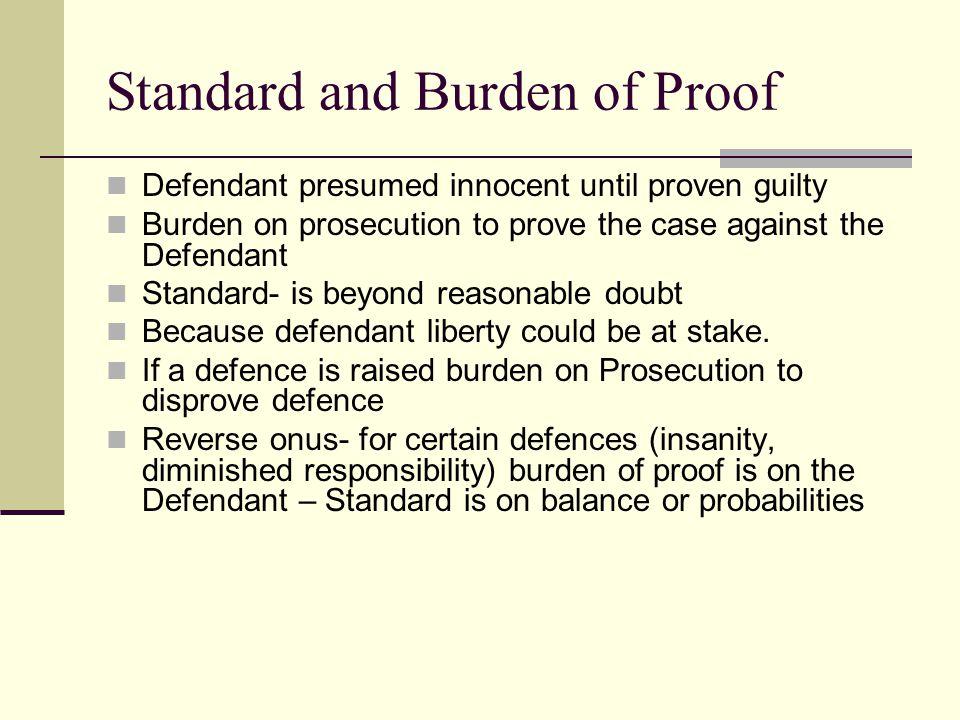 Standard and Burden of Proof Defendant presumed innocent until proven guilty Burden on prosecution to prove the case against the Defendant Standard- i