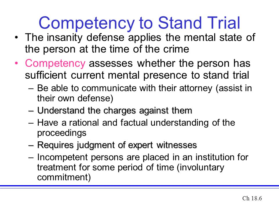 Competency to Stand Trial The insanity defense applies the mental state of the person at the time of the crime Competency assesses whether the person has sufficient current mental presence to stand trial –Be able to communicate with their attorney (assist in their own defense) –Understand the charges against them –Have a rational and factual understanding of the proceedings –Requires judgment of expert witnesses –Incompetent persons are placed in an institution for treatment for some period of time (involuntary commitment) Ch 18.6