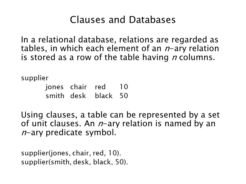 Clauses and Databases In a relational database, relations are regarded as tables, in which each element of an n-ary relation is stored as a row of the table having n columns.