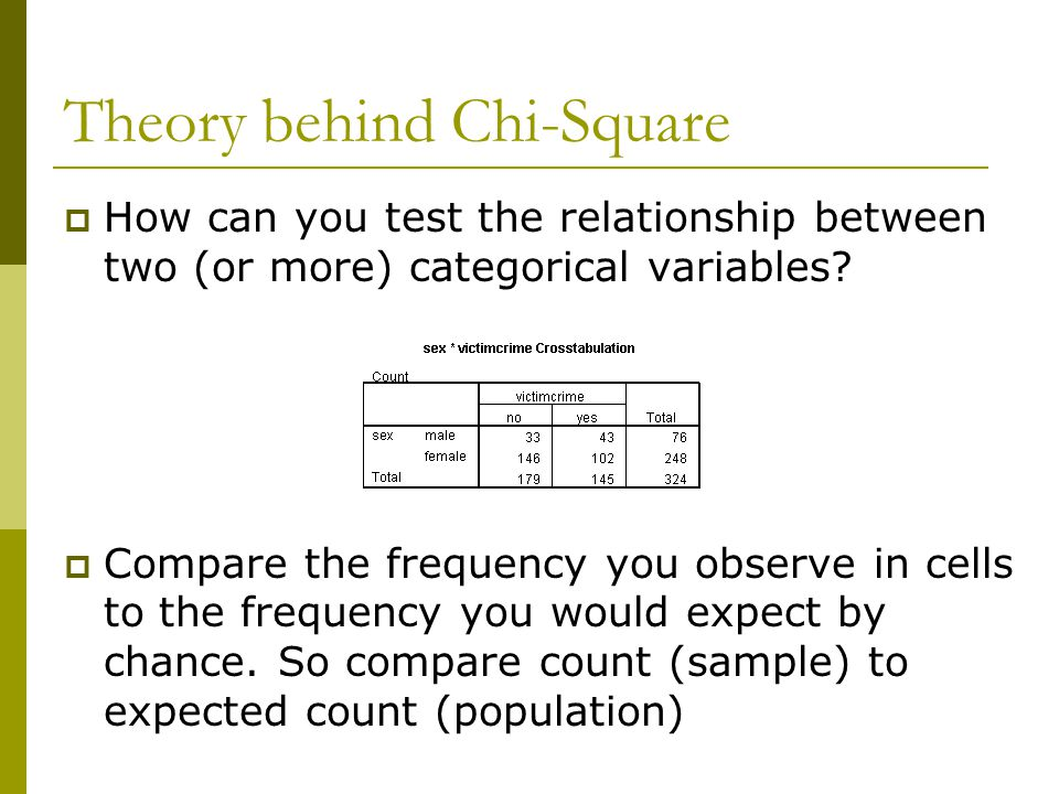 Theory behind Chi-Square  How can you test the relationship between two (or more) categorical variables.
