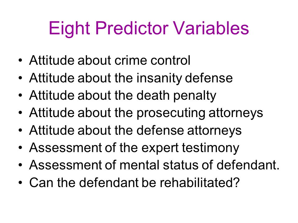 Eight Predictor Variables Attitude about crime control Attitude about the insanity defense Attitude about the death penalty Attitude about the prosecu