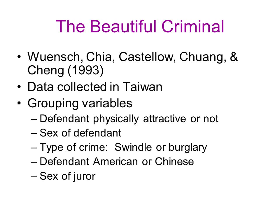 The Beautiful Criminal Wuensch, Chia, Castellow, Chuang, & Cheng (1993) Data collected in Taiwan Grouping variables –Defendant physically attractive o