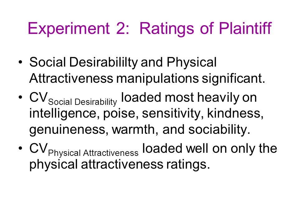 Experiment 2: Ratings of Plaintiff Social Desirabililty and Physical Attractiveness manipulations significant. CV Social Desirability loaded most heav
