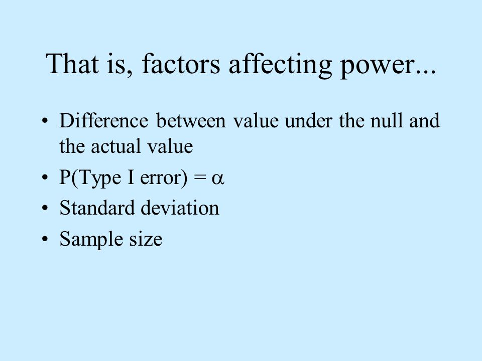 That is, factors affecting power...