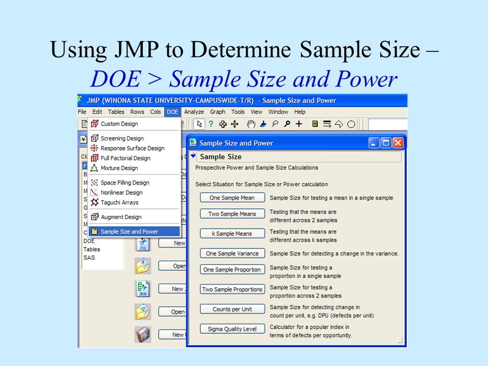Using JMP to Determine Sample Size – DOE > Sample Size and Power
