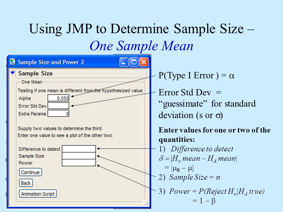 Using JMP to Determine Sample Size – One Sample Mean P(Type I Error ) =  Error Std Dev = guessimate for standard deviation (s or  Enter values for one or two of the quantities: 1) Difference to detect  H o mean – H A mean| = |    2) Sample Size = n A true) =  3) Power = P(Reject H o |H A true) = 