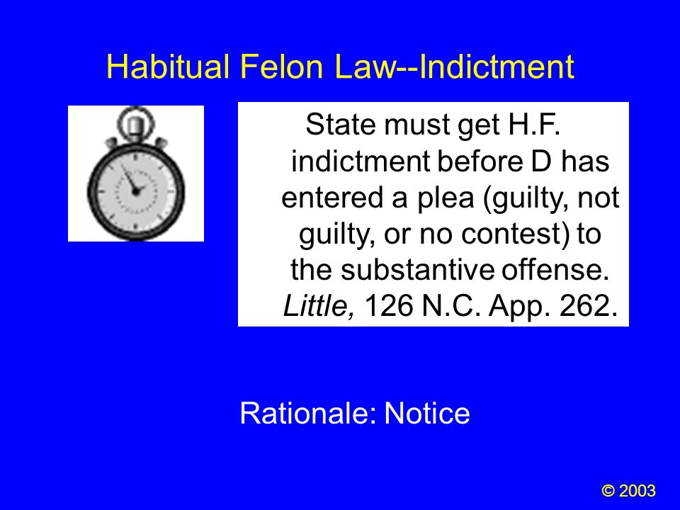 Habitual Felon Law--Indictment State must get H.F. indictment before D has entered a plea (guilty, not guilty, or no contest) to the substantive offen