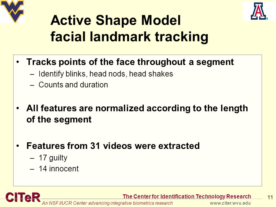 CITeR The Center for Identification Technology Research www.citer.wvu.eduAn NSF I/UCR Center advancing integrative biometrics research Active Shape Model facial landmark tracking Tracks points of the face throughout a segment –Identify blinks, head nods, head shakes –Counts and duration All features are normalized according to the length of the segment Features from 31 videos were extracted –17 guilty –14 innocent 11