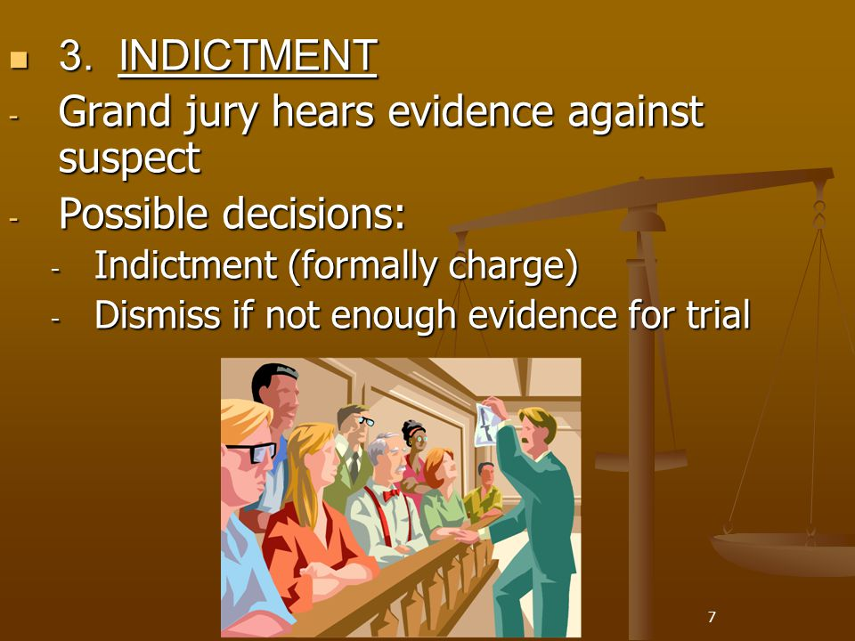 7 3. INDICTMENT 3. INDICTMENT - Grand jury hears evidence against suspect - Possible decisions: - Indictment (formally charge) - Dismiss if not enough
