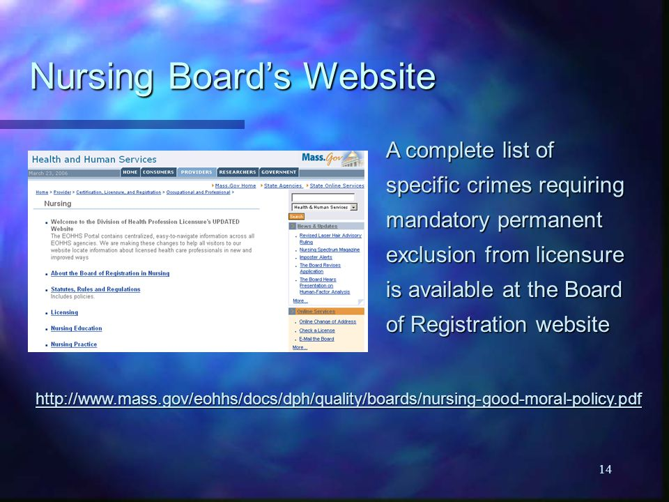 14 Nursing Board's Website A complete list of specific crimes requiring mandatory permanent exclusion from licensure is available at the Board of Regi
