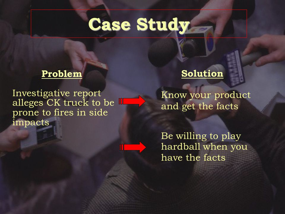 Case Study Problem Solution Defend the product Change the terms of the debate/Tell alternate story Put loss in context/Alternate story Client loses bi