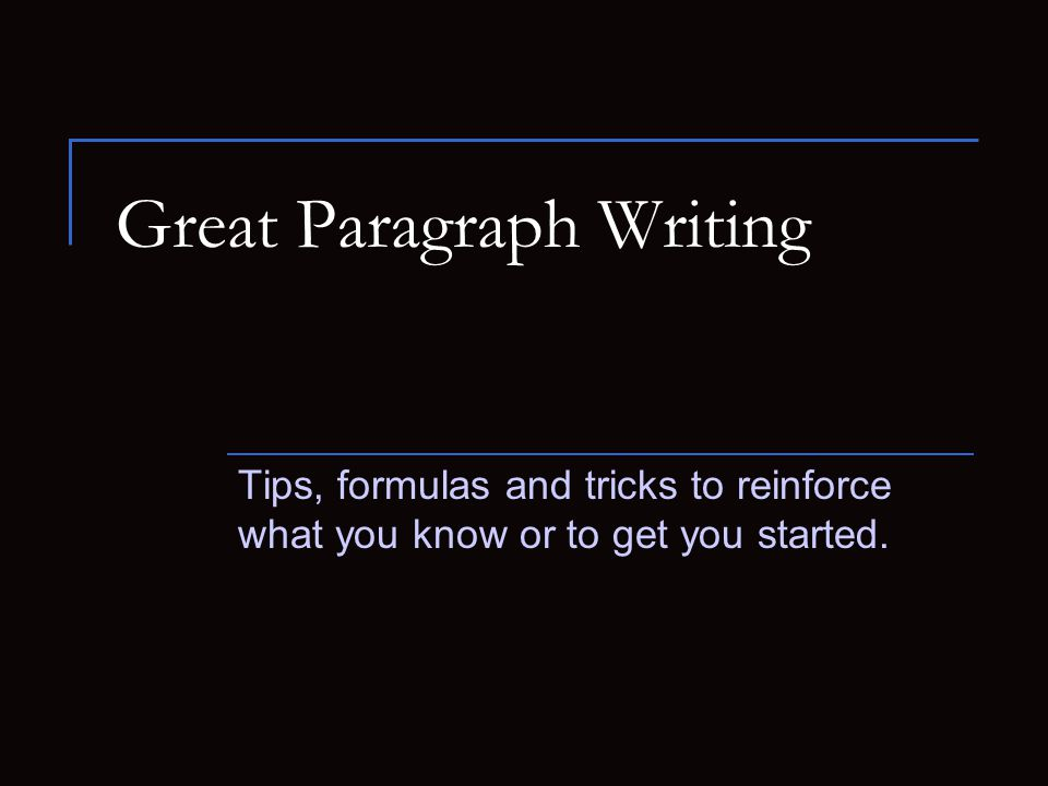 Format of a body paragraph (version 1) 1.Topic sentence 2.