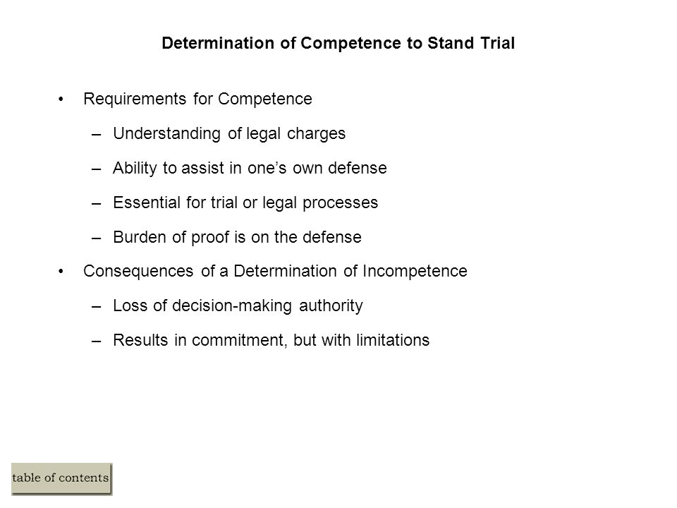 Determination of Competence to Stand Trial Requirements for Competence –Understanding of legal charges –Ability to assist in one's own defense –Essent