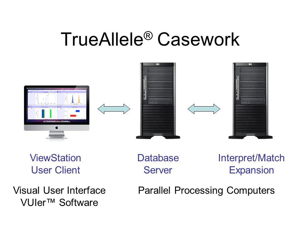 TrueAllele ® Casework ViewStation User Client Database Server Interpret/Match Expansion Visual User Interface VUIer™ Software Parallel Processing Comp