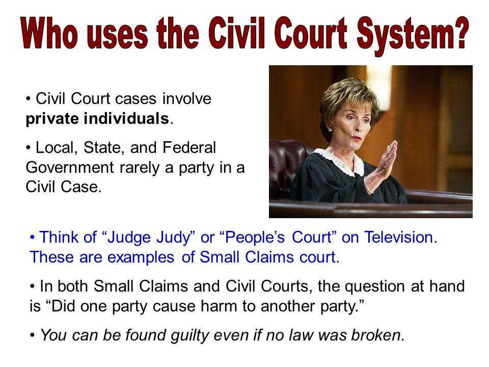 Civil Court cases involve private individuals.