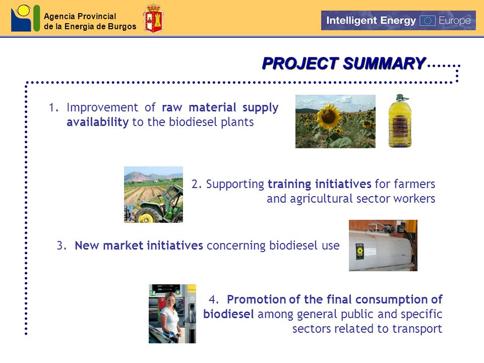 Agencia Provincial de la Energía de Burgos PROJECT SUMMARY 1.Improvement of raw material supply availability to the biodiesel plants 2.