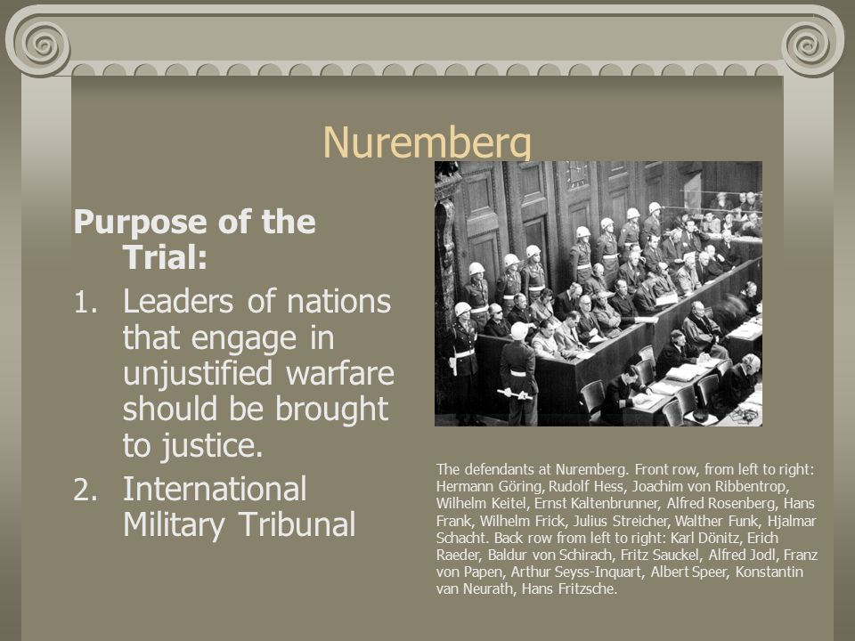 Nuremberg What were the charges.1. Count One: Conspiracy to Seize Power-overthrow of government.