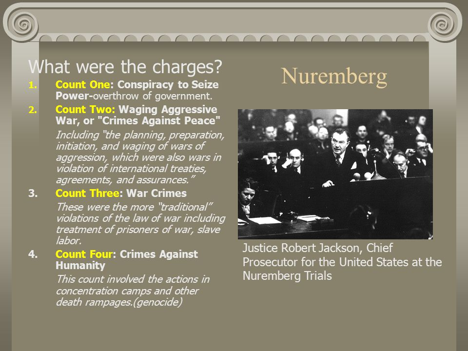 Nuremberg What were the charges. 1. Count One: Conspiracy to Seize Power-overthrow of government.