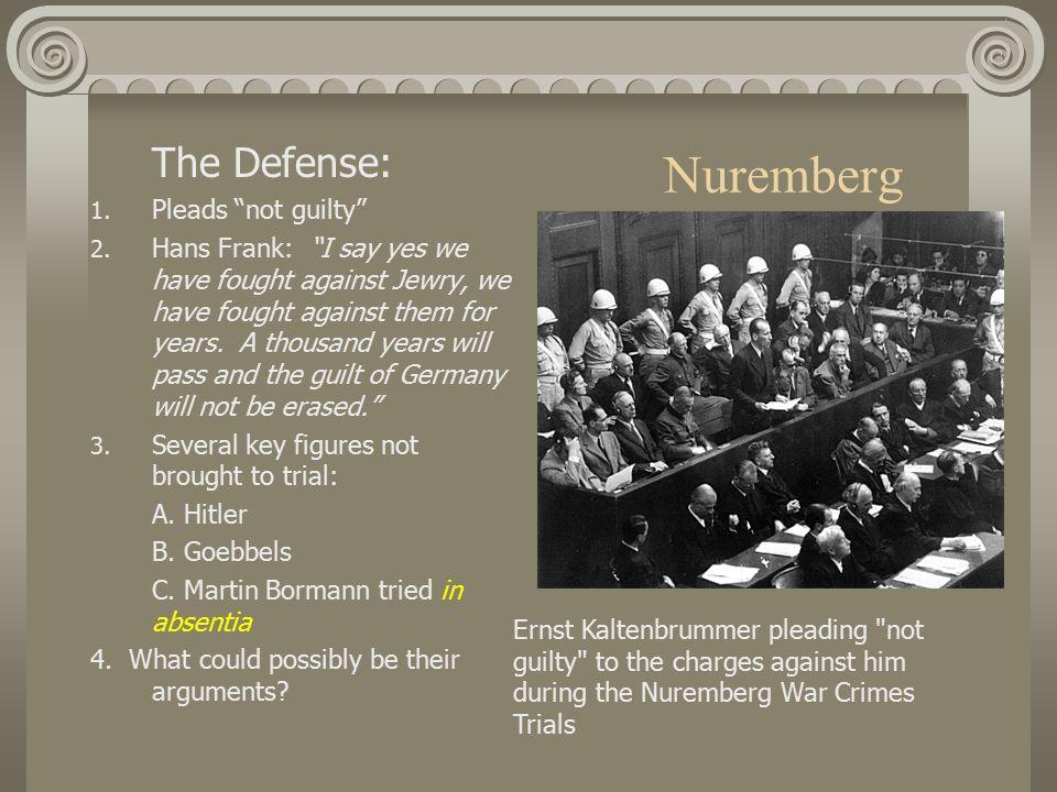 Nuremberg The Defense: 1. Pleads not guilty 2.