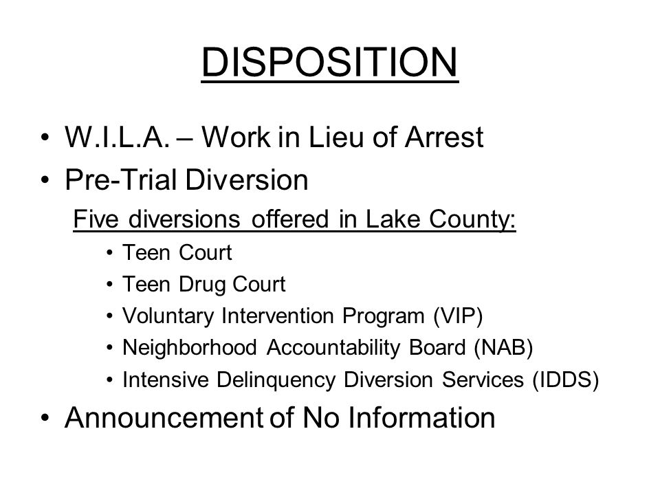 DISPOSITION W.I.L.A.