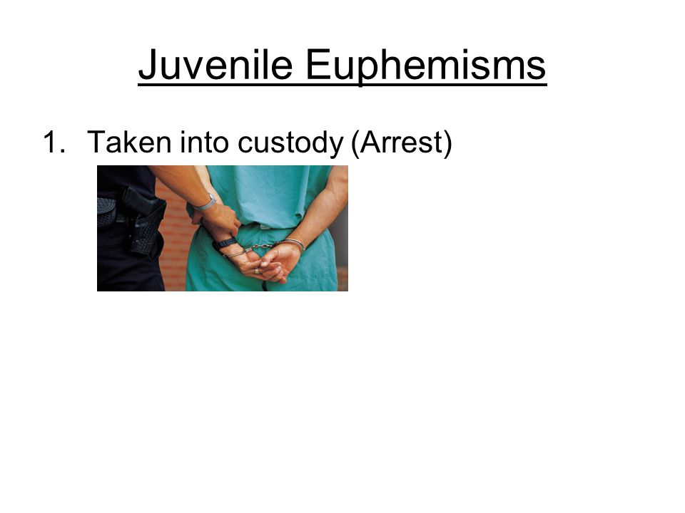 Juvenile Euphemisms 1.Taken into custody (Arrest)