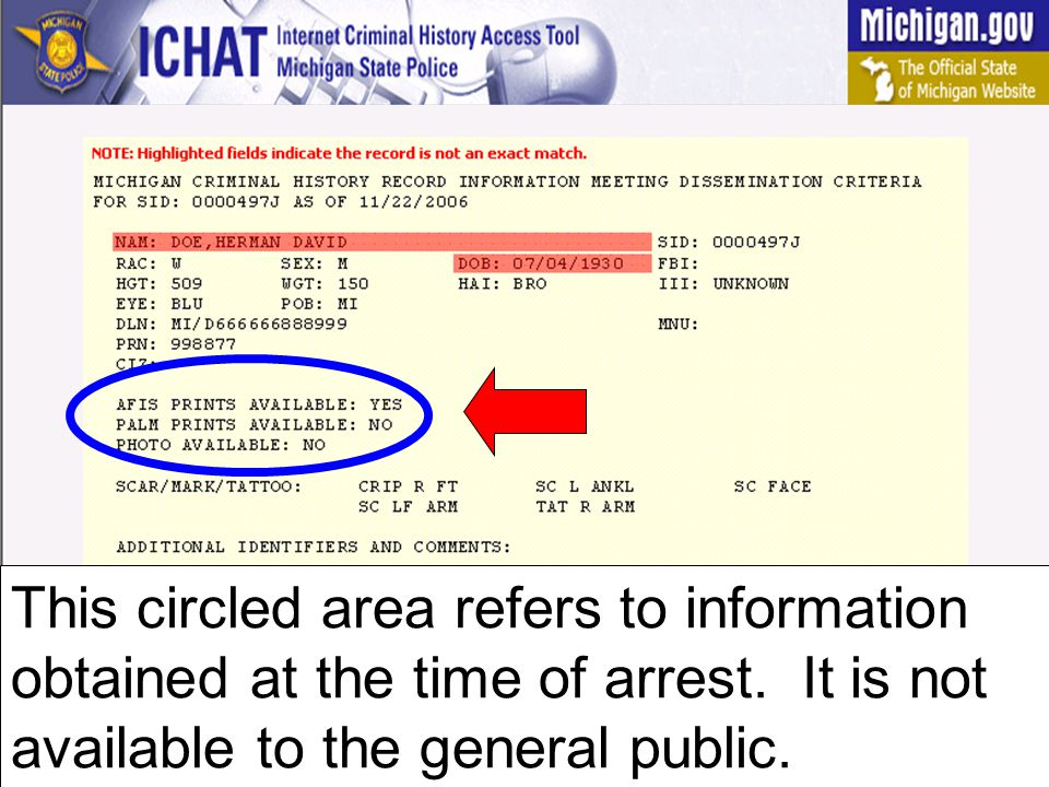 This circled area refers to comments and other identifiers that the person on the record is known to have used.