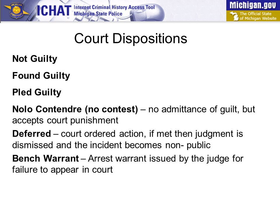 MCL (Michigan Compiled Law) refers to the law which the person is charged and/or convicted of breaking.