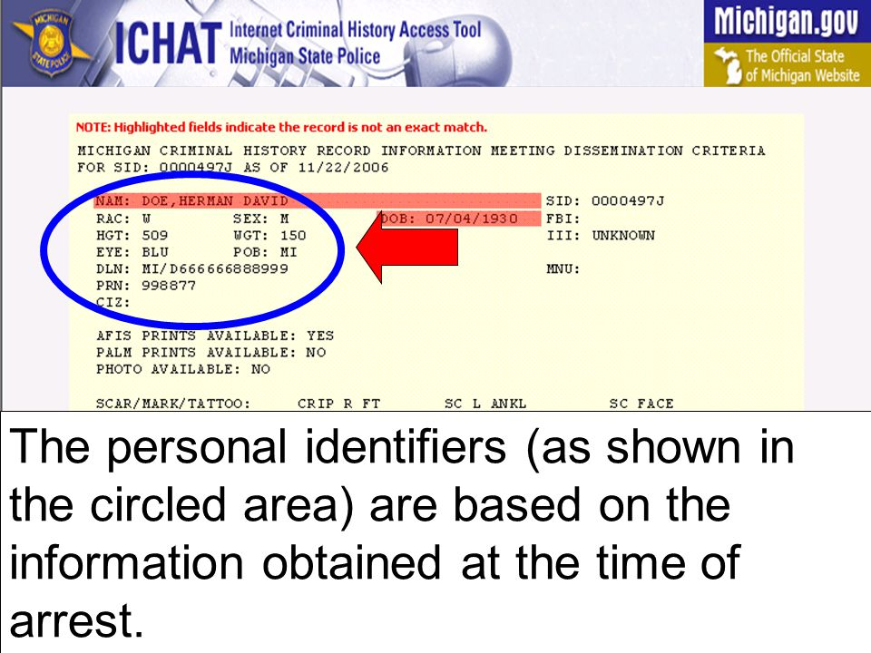 The FBI space refers to the federal criminal record number (if any).