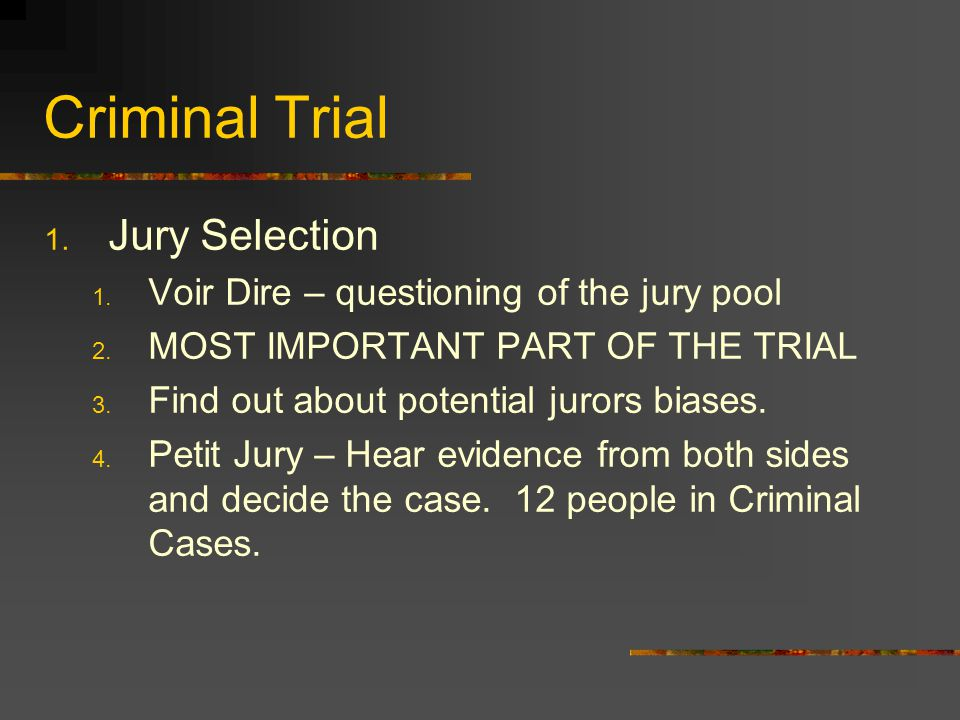 Criminal Trial 1.Challenges 1. To the Array- The entire jury pool is tainted.