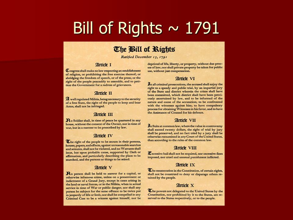 For each of the following examples decide which amendment is involved, and which rights are being violated.