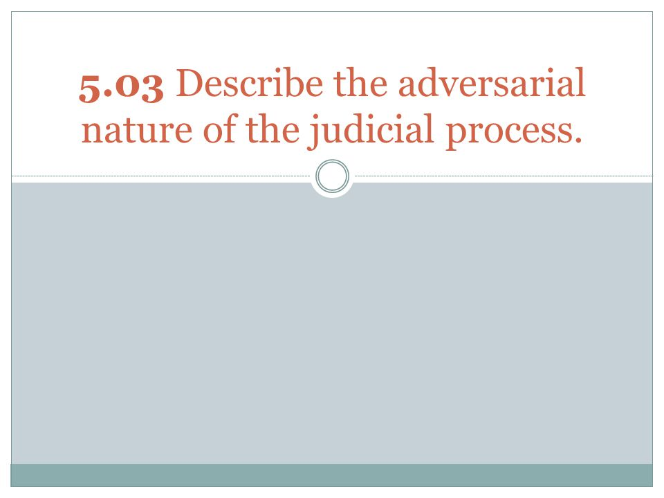 5.03 Describe the adversarial nature of the judicial process.