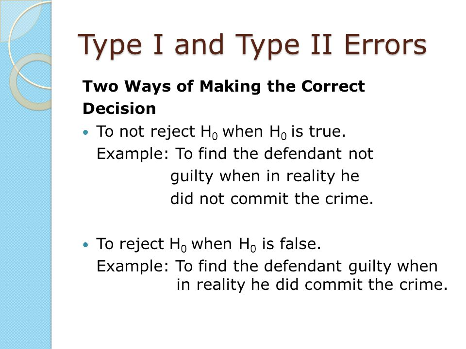 Type I and Type II Errors Two Ways of Making the Correct Decision To not reject H 0 when H 0 is true. Example: To find the defendant not guilty when i