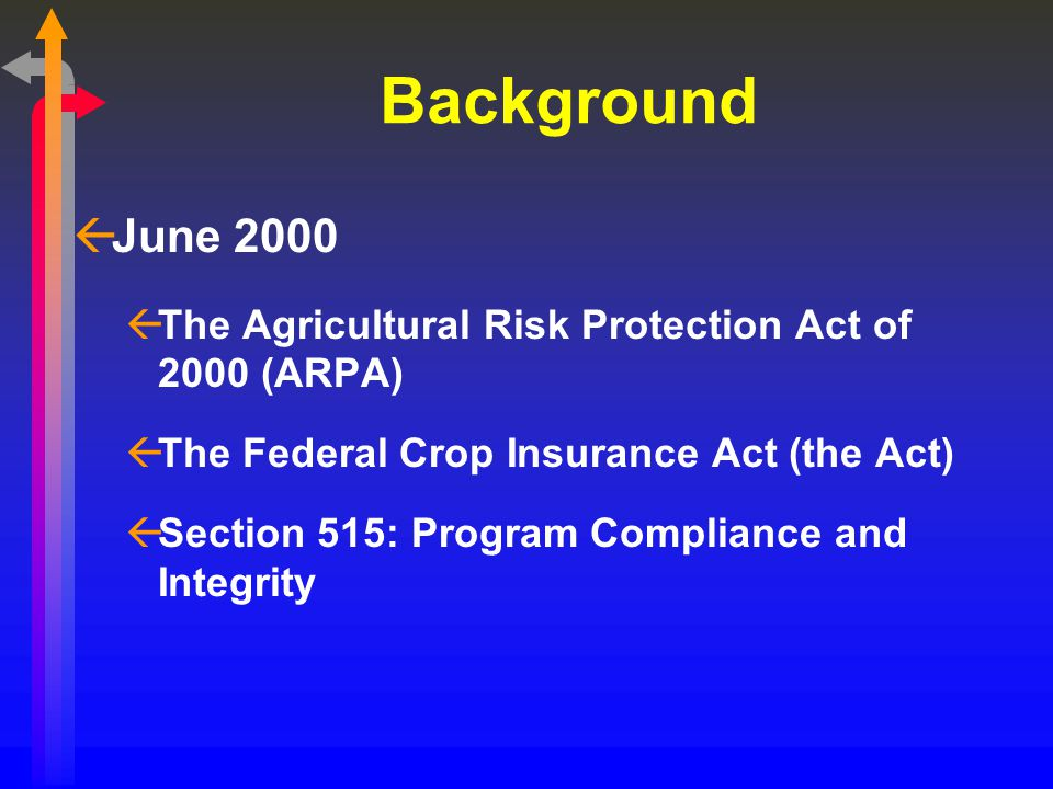 Background ßJune 2000 ßThe Agricultural Risk Protection Act of 2000 (ARPA) ßThe Federal Crop Insurance Act (the Act) ßSection 515: Program Compliance and Integrity