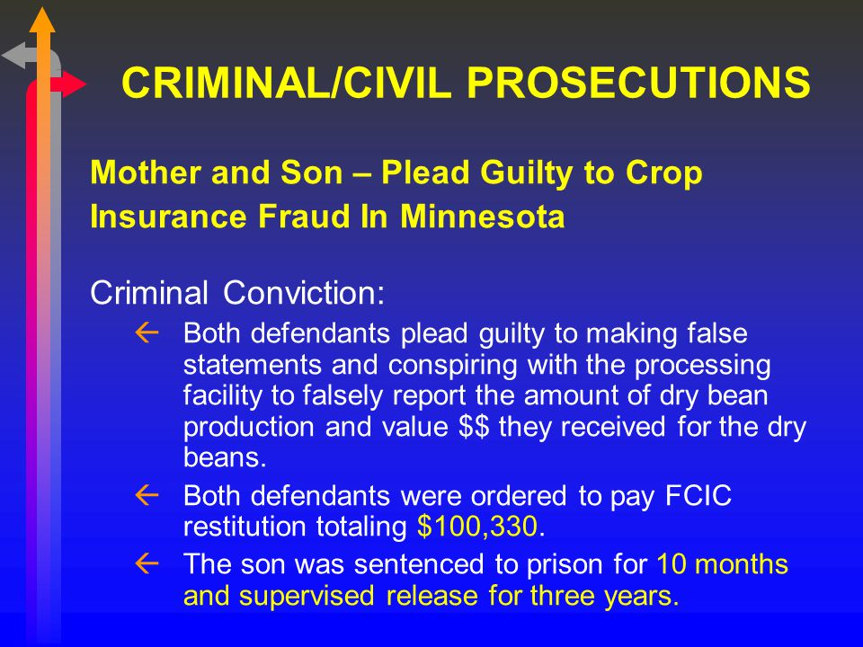 CRIMINAL/CIVIL PROSECUTIONS Mother and Son – Plead Guilty to Crop Insurance Fraud In Minnesota Criminal Conviction: ßBoth defendants plead guilty to making false statements and conspiring with the processing facility to falsely report the amount of dry bean production and value $$ they received for the dry beans.