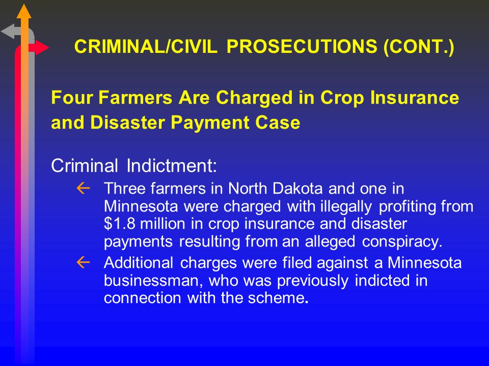 CRIMINAL/CIVIL PROSECUTIONS (CONT.) Four Farmers Are Charged in Crop Insurance and Disaster Payment Case Criminal Indictment: ßThree farmers in North Dakota and one in Minnesota were charged with illegally profiting from $1.8 million in crop insurance and disaster payments resulting from an alleged conspiracy.