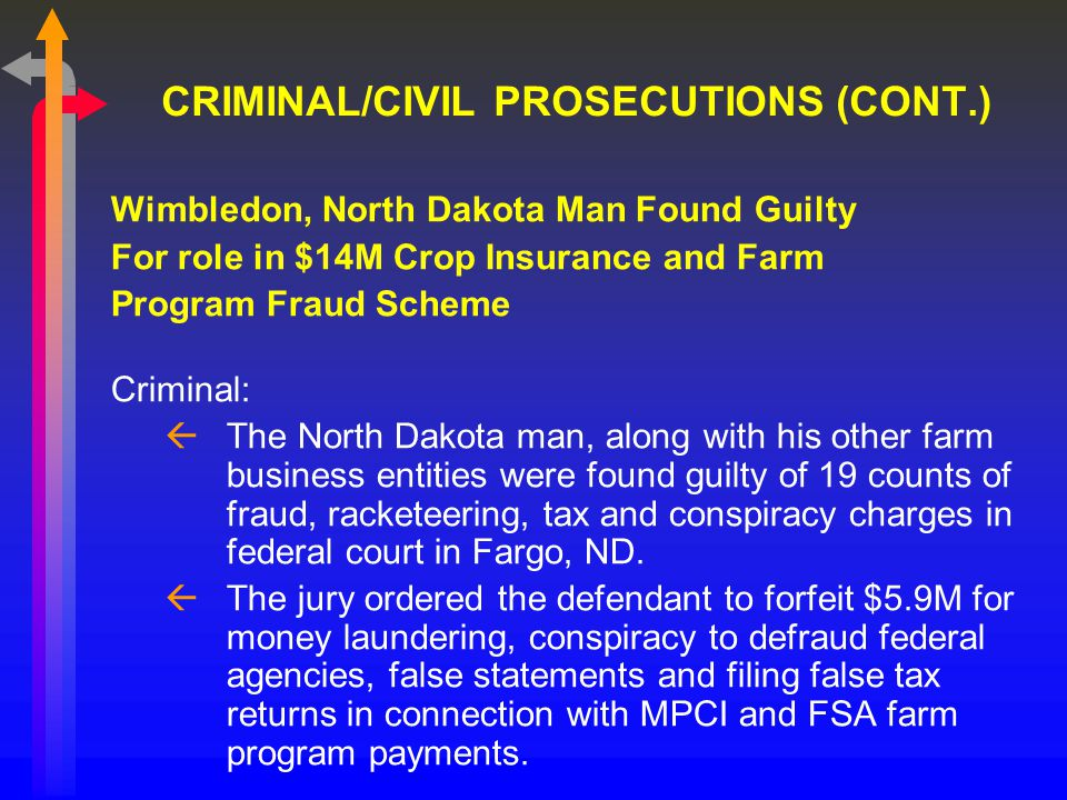 CRIMINAL/CIVIL PROSECUTIONS (CONT.) Wimbledon, North Dakota Man Found Guilty For role in $14M Crop Insurance and Farm Program Fraud Scheme Criminal: ßThe North Dakota man, along with his other farm business entities were found guilty of 19 counts of fraud, racketeering, tax and conspiracy charges in federal court in Fargo, ND.