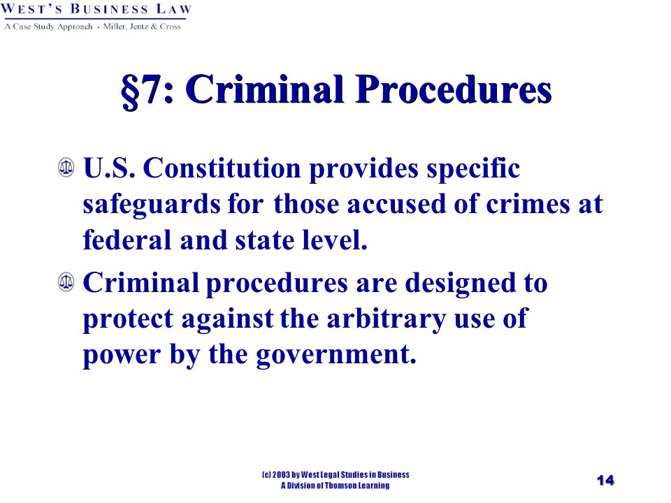 14 §7: Criminal Procedures U.S.