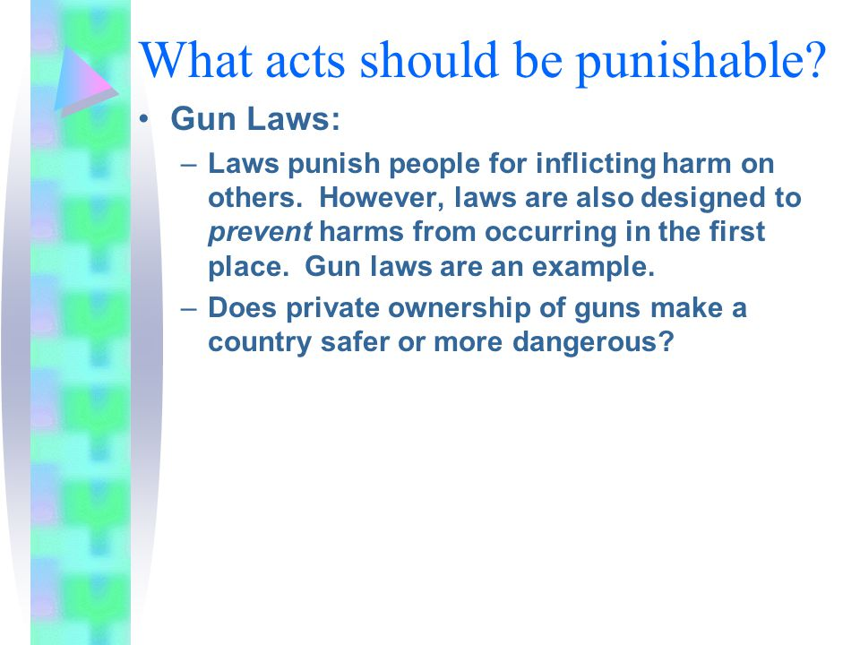 What acts should be punishable. Gun Laws: –Laws punish people for inflicting harm on others.
