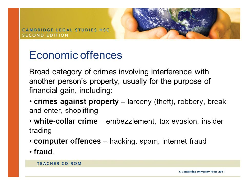 Broad category of crimes involving interference with another person's property, usually for the purpose of financial gain, including: crimes against p