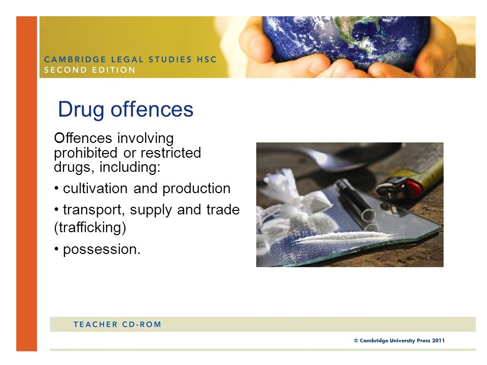 Drug offences Offences involving prohibited or restricted drugs, including: cultivation and production transport, supply and trade (trafficking) posse