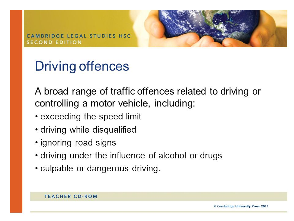A broad range of traffic offences related to driving or controlling a motor vehicle, including: exceeding the speed limit driving while disqualified i