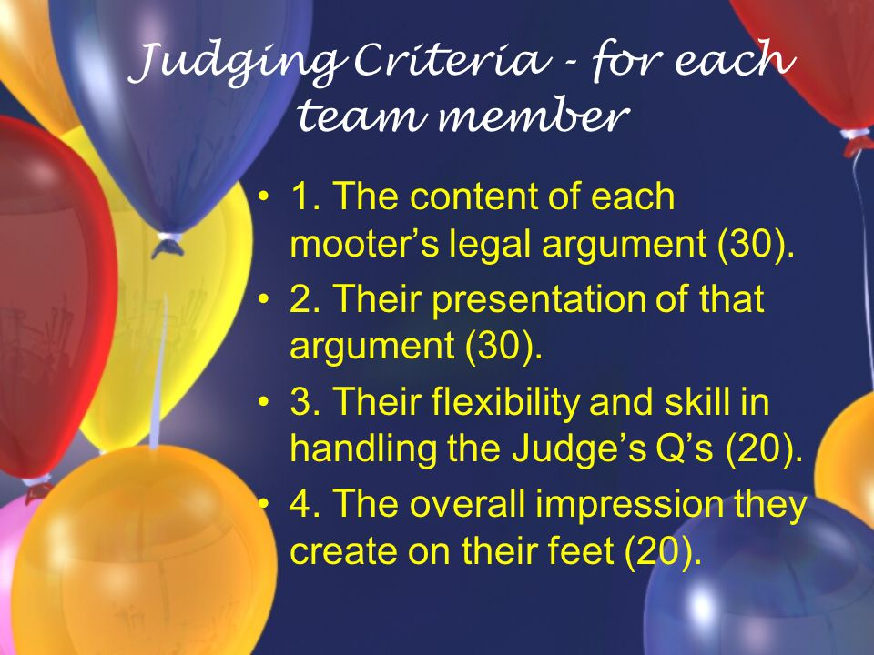 Judging Criteria - for each team member 1. The content of each mooter's legal argument (30).