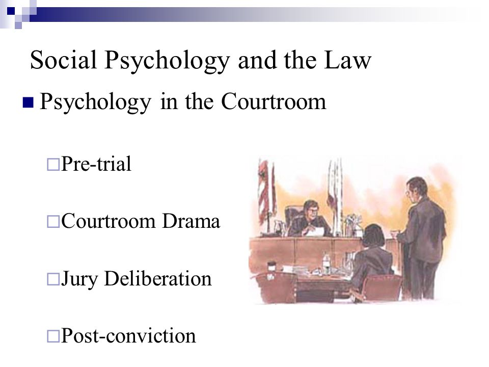 Social Psychology and the Law Psychology in the Courtroom  Pre-trial  Courtroom Drama  Jury Deliberation  Post-conviction