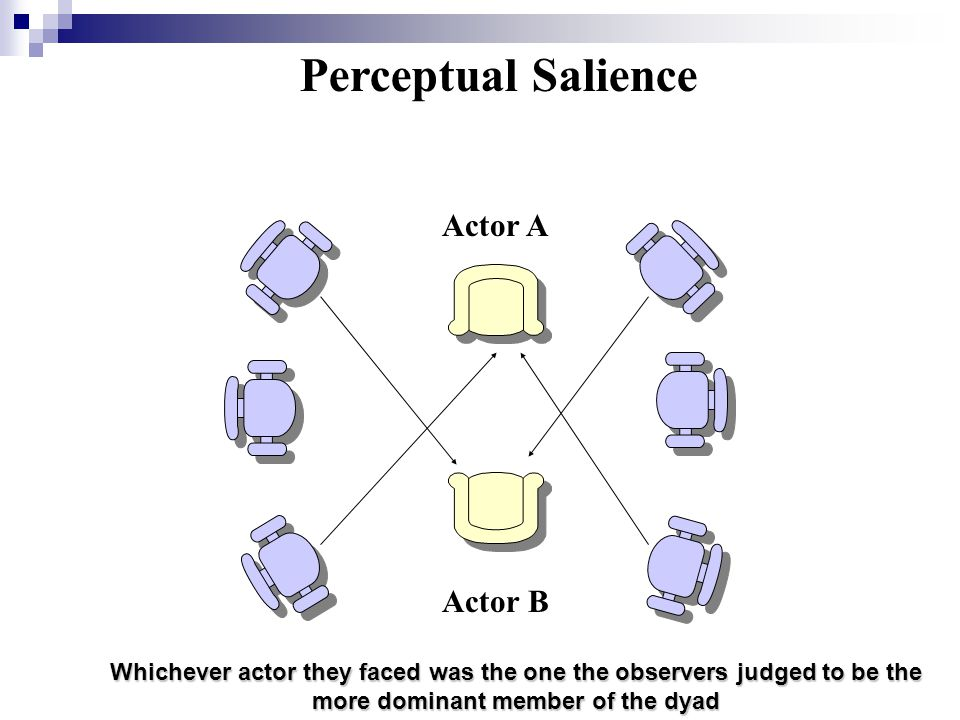 Perceptual Salience Actor A Actor B Whichever actor they faced was the one the observers judged to be the more dominant member of the dyad