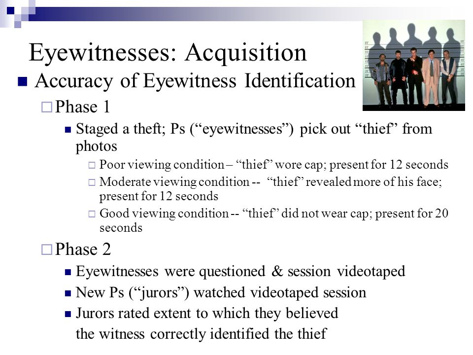 Eyewitnesses: Acquisition Accuracy of Eyewitness Identification  Phase 1 Staged a theft; Ps ( eyewitnesses ) pick out thief from photos  Poor viewing condition – thief wore cap; present for 12 seconds  Moderate viewing condition -- thief revealed more of his face; present for 12 seconds  Good viewing condition -- thief did not wear cap; present for 20 seconds  Phase 2 Eyewitnesses were questioned & session videotaped New Ps ( jurors ) watched videotaped session Jurors rated extent to which they believed the witness correctly identified the thief