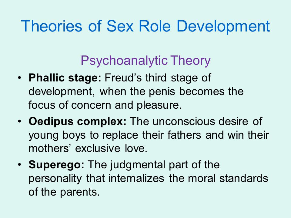 Theories of Sex Role Development Psychoanalytic Theory Phallic stage: Freud's third stage of development, when the penis becomes the focus of concern