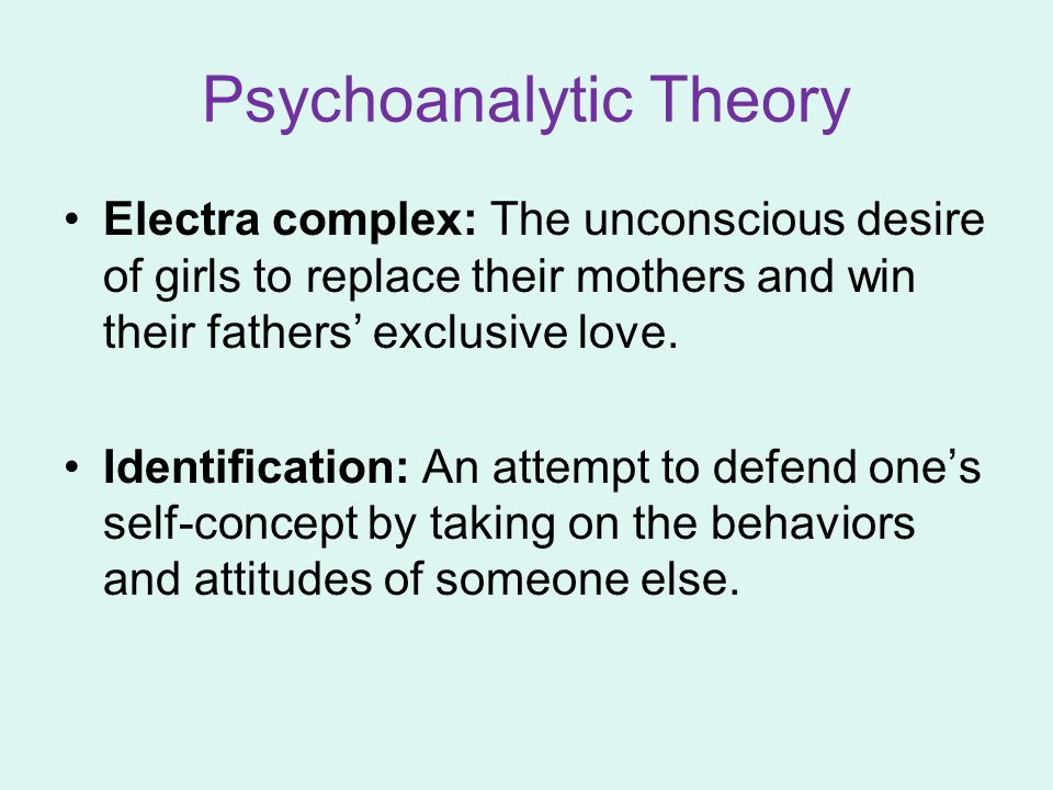 Electra complex: The unconscious desire of girls to replace their mothers and win their fathers' exclusive love. Identification: An attempt to defend