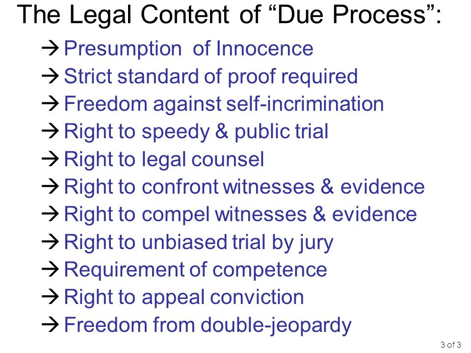 "The Legal Content of ""Due Process"":  Presumption of Innocence  Strict standard of proof required  Freedom against self-incrimination  Right to spe"